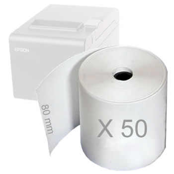 Papel termico rollo 80 mm - 50 unid